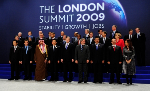Heads of delegation pose for the official group photograph at the G20 summit at the ExCel centre, in east London